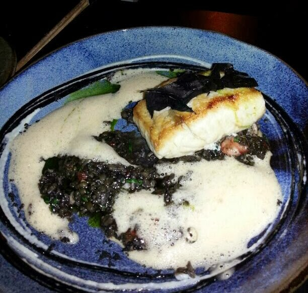 Confit squid & chorizo paella, sauteed gambas andblack fennel (SG$ 29)