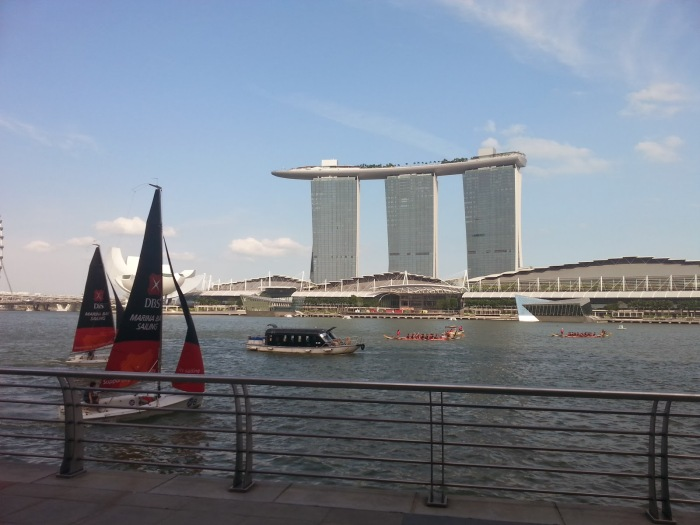 View of MBS in front of Marina Bay, photo taken from 1 Fullerton.
