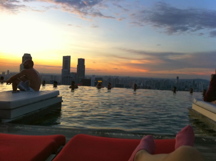 Watching the sunset at the Infinity Pool
