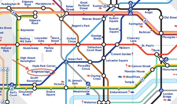 Knightsbridge 站 (紅圈所示)
