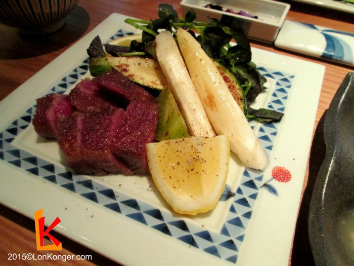 The star of the show - sliced Kobe beef steak with seasonal vegetables