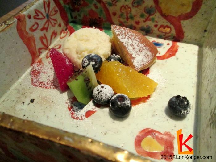 Tofu cheesecake, custard dorayaki and fruit pieces